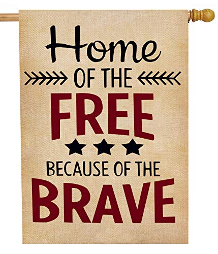 (Dyrenson 4th of July Home of The Free Patriotic House Flag 28 x 40 Double Sided Quote, Burlap Garden Yard Decoration, USA Decorative Seasonal Outdoor Décor Large Flag Spring Summer US Independence Day )