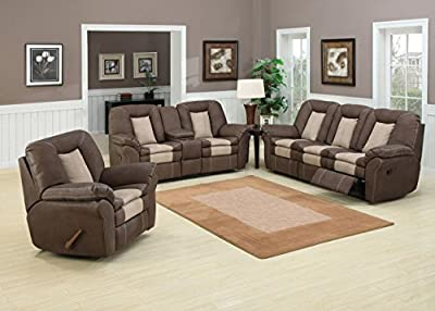 Carson Dark Brown/Stone 3-Piece Living Room Set With 5 Recliners, Sofa Loveseat