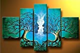 Wieco Art Blue Tree Human Body Modern 5 Piece 100% Hand Painted Stretched and Framed Artwork Contemporary Abstract Oil Paintings on Canvas Wall Art for Living Room Bedroom Home Decorations