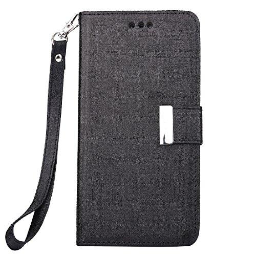 Protege tu iPhone, Para el iPhone 7 Plus Textura de Oracle Caja de cuero horizontal separable del tirón con las ranuras para tarjeta y la carpeta y el marco y el acollador de la foto Para el teléfono  Negro