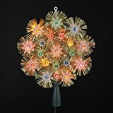 Kurt Adler 8'' Shimmering Multi-Colored Lights and Gold Tinsel Round Snowflake Christmas Tree Topper