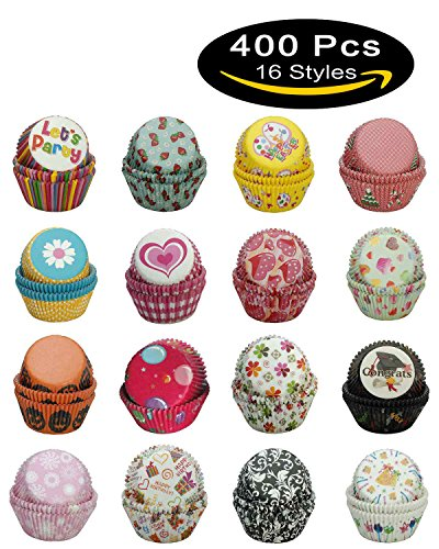 Chocolate Theme Bridal Shower (Paper-Baking-Cups SophieBella 400 pcs 16-Styles Cupcake-Liner for Holiday Party)