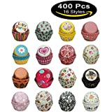 Paper-Baking-Cups SophieBella 400 pcs 16-Styles Cupcake-Liner for Holiday Party
