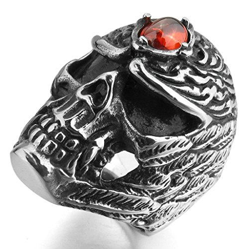 Mens Rings Bands Stainless Steel Large CZ Black Silver Red Skull Angel Wing Gothic Biker US 10 by Aienid
