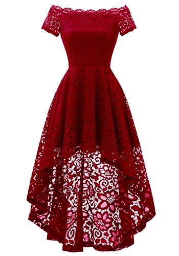 Dressystar 0042 Lace Off Shoulder Cocktail Hi-Lo Bridesmaid Swing Dress DarkRed S