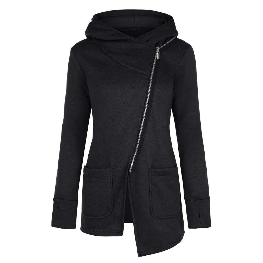Rubysam Women Ladies Winter Zipper Blouse Hoodie Hooded Sweatshirt Coat Jacket Outwear with Pocket (Black, S)