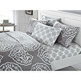 6 Piece Silver Grey Medallion Sheet Queen Set, Light Gray Graphic Geometric Moroccan Mandala Pattern, Bohemian Themed Casual Contemporary Damask Deep Pocket Adult Bedding Master Bedroom, Microfiber