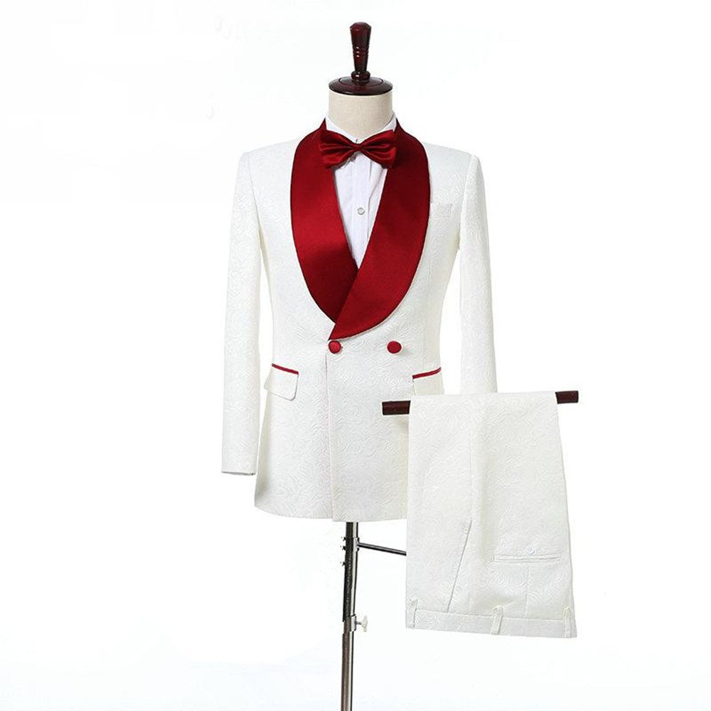 Anylinksuit 2 Piece Double-Breasted White Paisley Groom Tuxedos Blazer Suits