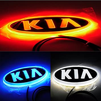 AutoStyle Car styling 4D LED cold light logo for KIA KIA RIO K2 Cerato Optima K3 K5 Sportage Sorento high quality ping >> Emitting Color ** White <<: Amazon.es: Coche y moto