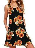 WEACZZY Floral Summer Beach Dresses for Women Cotton Mini Sundress Sleeveless Pleated Floral Sunflower Small