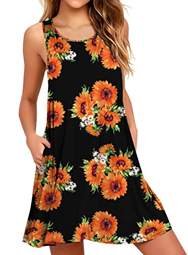 (WEACZZY Casual Loose Floral Summer Dresses Cotton Beach Dress Mini Sundress Swimwear Bikini Cover ups Floral Sunflower Large)