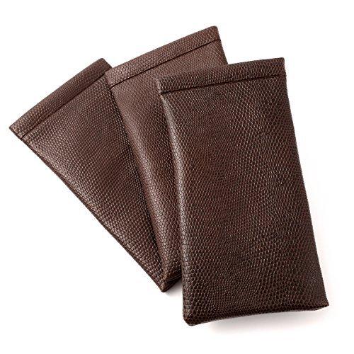 Soft Spring Top Eyeglass Case, Snap Closure in Snakeskin Colors in Brown (3 PACK) by - Palm Eyeglasses Springs