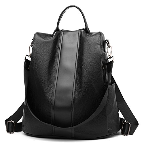 Leather 3 Way - Women Backpack Purse Anti Theft Waterproof Detachable Covertible Casual Travel Shoulder Bag(Black3)
