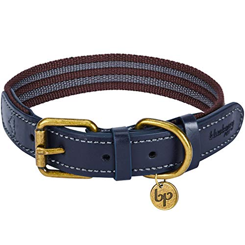 "Blueberry Pet 8 Colors Polyester Fabric Webbing and Soft Genuine Leather Dog Collar in Noir Grey and Burgundy, Medium, Neck 15""-18"", Adjustable Collars for Dogs"