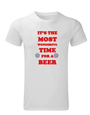 2fb316929 It's The Most Wonderful Time For A Beer Funny Christmas Men's T Shirt:  Amazon.co.uk: Clothing