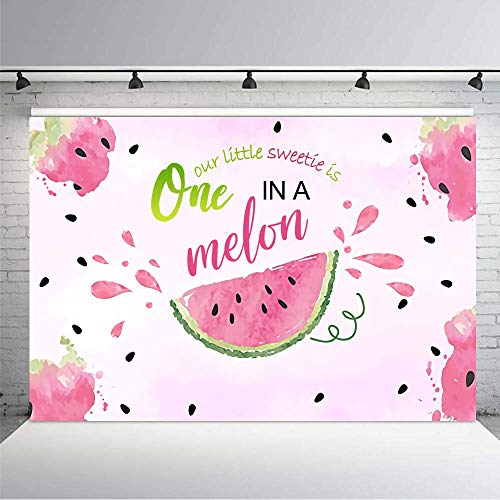 KSZUT Summer Watermelon Theme Backdrop 7X5ft Kids Happy 1st Birthday Party Cake Table Decoration Newborn Backdrops Baby Shower Photo Booth Props Home Deco]()