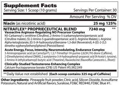 GAT Clinically Tested Nitraflex Testosterone Enhancing Pre Workout, Blue Raspberry, 300 Gram