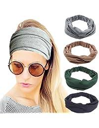 4 Pack Women Elastic Turban Head Wrap Headband Twisted Hair Band H1 (4 Color Pack F)