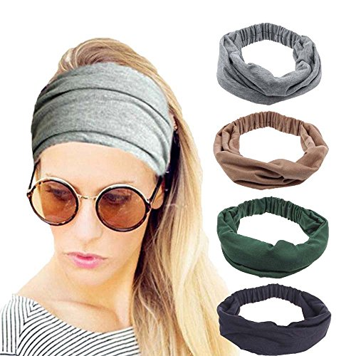 4 Pack Women Elastic Turban Head Wrap Headband Twisted Hair Band H1 (4 Color Pack F) Fabric Hair Bands
