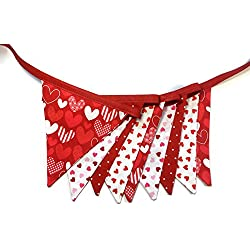 Valentine's Heart Dot Reusable Fabric Banner Decoration