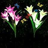 Adamluvs Solar Lights Outdoor,Solar Flowers, Solar Flower Stake Lights,Color Changing Solar LED Flower Lights with 12 Pcs Butterfly Stakes for Garden, Patio, Backyard Decorating (Purple & White)
