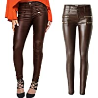 3bd2741a7ce PU Leather Denim Pants for Women Sexy Tight Stretchy Rider Leggings Black  Coffee