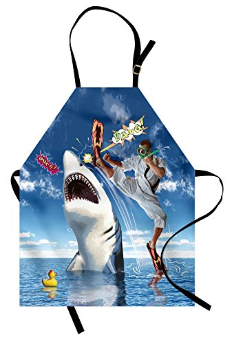 Ambesonne Sealife Apron, Unusual Marine Navy Life Animals Fish Sharks with Karate Kid and Comics Balloon Art, Unisex Kitchen Bib with Adjustable Neck for Cooking Gardening, Adult Size, Blue -