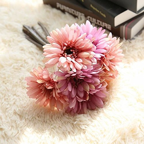 Artificial Flowers African Daisy Artificial Daisy 7 PCS Per Bundle Silk Cloth Flower Bouquet for Wedding Bouquet Home Decor Hotel Party Christmas Decoration Holiday Gift, 11 Inches (Purple Pink) (Flower Bundles)