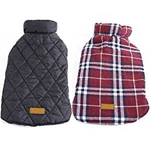 SAWMONG Small Dogs Warm Coat Jacket Waterproof Windproof Reversible British Style Red Plaid Cozy Vest Winter Outdoor Pet Clothes Apparel