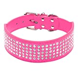 Beirui Rhinestones Dog Collars - 2' Width with 5 Rows Full Sparkly Crystal Diamonds Studded PU Leather - 2 Inch Wide -Beautiful Bling Pet Appearance for Medium & Large Dogs,17-20',Hot Pink