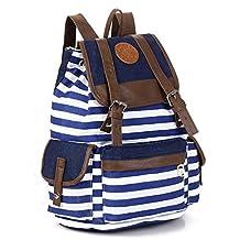 Kisstyle Unisex Multi-function Canvas Backpack School Bag Stripe Campus Backpack Blue