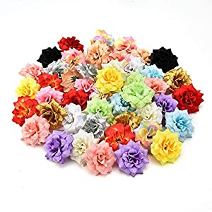 Artificial Flowers Heads in Bulk Wholesale for Crafts Mini Silk Rose Wedding Home Decorative DIY Party Festival Decor Wallet Gift Cut & Clip Fake Flower 30pcs 4.5cm 96