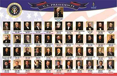 brainymats - Kids Educational Placemat - (US Presidents) -Double Sided -Washable -Made in the USA