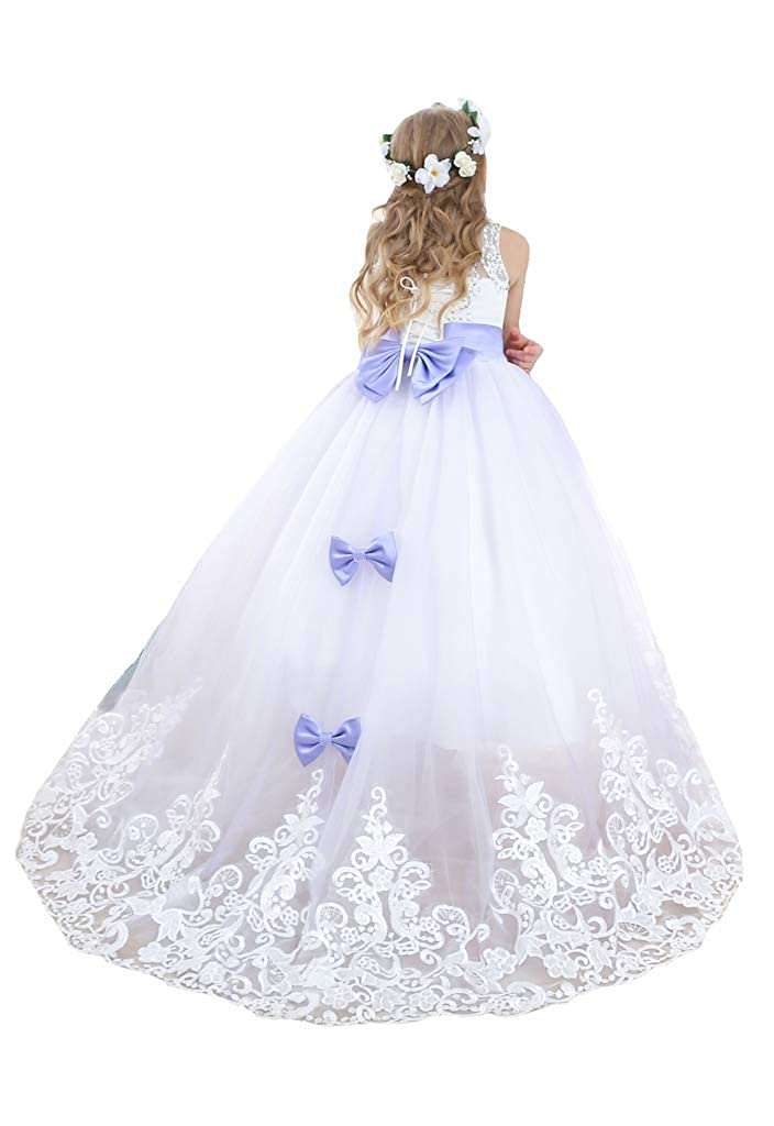 Lavande 6_ans Bow Dream Robe de Fille d'Honneur Cérémonie de Mariage Maxi Tulle