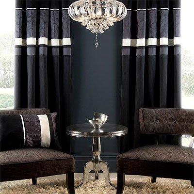 Ellie Pencil Pleat Curtains, Black, 90 x 90 Inch: Amazon.co.uk ...