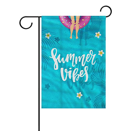 - YZGO Summer Vibes Pool Party Garden Flag Home Polyester Fabric Mildew Resistant Welcome House Yard Banner,12x18 Inch