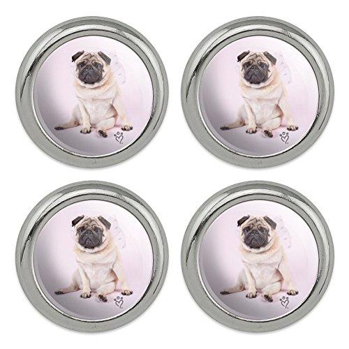 (Pug Puppy Dog with Angel Wings Pink Metal Craft Sewing Novelty Buttons - Set of 4)