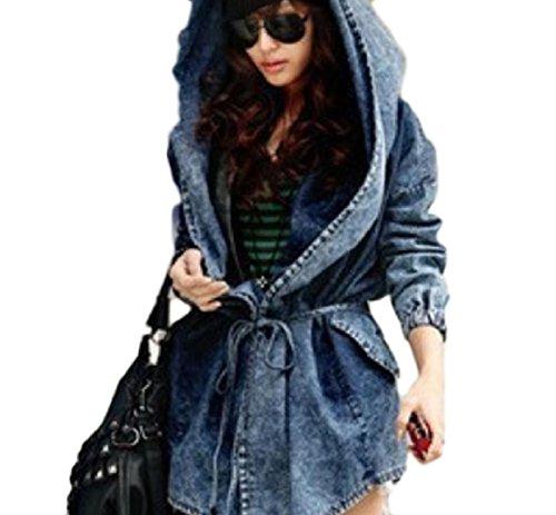 Abetteric Women's Hooded Denim Poncho Jacket Over Sized Skinny Topcoat Jacket Blue ()