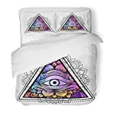 SanChic Duvet Cover Set Third Eye with Floral Mandala Inside the Triangle Zentangle Boho for Adult Coloring Book and Meditation Decorative Bedding Set with 2 Pillow Shams Full/Queen Size