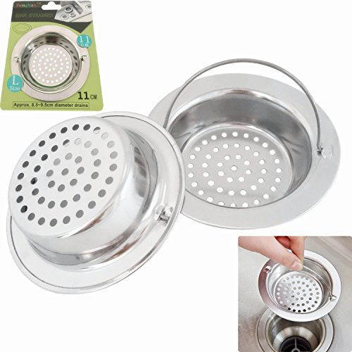 2PCS Stainless-Steel Kitchen Sink Strainer - Large Wide Rim 4.3