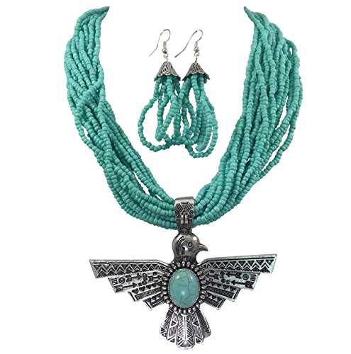 (Tribal Eagle Simulated Turquoise & Seed Bead Western Southwestern Look Necklace Earring Set)
