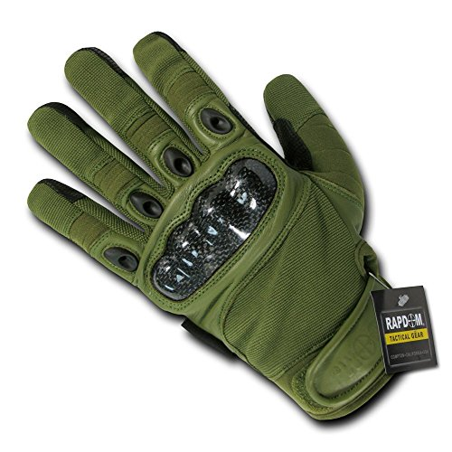 Rapdom Tactical Carbon Fiber Knuckle Gloves Color: Olive Size: Small by RAPDOM