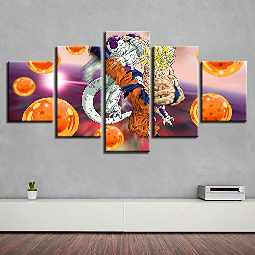 (Yyjyxd Wall Canvas Picture Art 5 Pieces Cartoon Anime Painting Poster Modular HD Printing Decoration Home Living Room Frame-8 x 14/18/22inch,with)