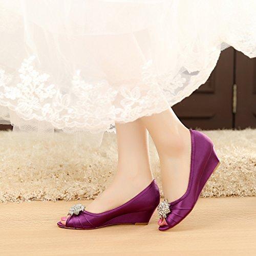 LUXVEER Purple Low Heel Wedding Wedges Shoes,2inch Heels-EU41