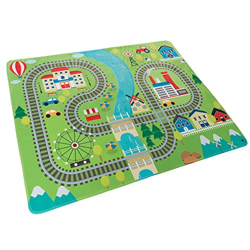Baby Play Mat for Kids, Microfiber Flannel Fleece & Foam Mat with Non Slip Back and Train Scene for Toddlers, Boys and Girls by Hey! Play! (Land Playing Rug)
