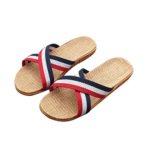 Flip Flops Sandals for Women Oceanside Unisex Linen Home Indoor Anti-Slip Flats Shoes Slippers Beach Shoes Red -