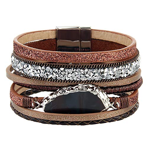 (AZORA Leather Cuff Bracelet Multi Rope Wrap Bangle with Pearl Metallic Heart Cuffs Bracelets for Women Teen Girl Gift (Brown-Cuff Bracelet Leather))