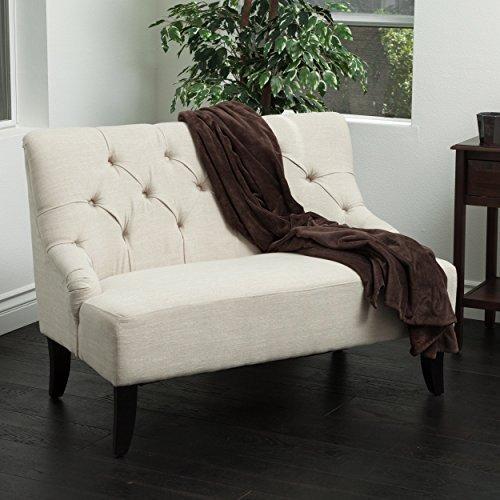 mariana light beige fabric settee
