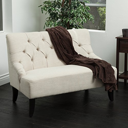 Upholstered Bench With Back - Great Deal Furniture 295262 Mariana Light Beige Fabric Settee