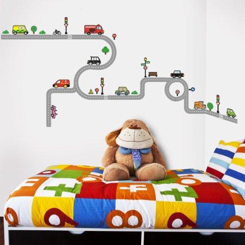 Decowall DW-1204 10 Routes et Transports Autocollants Muraux Mural Stickers  Chambre Enfants Bébé Garderie Salon
